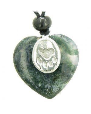 Lucky Wolf Paw Charm Puffy Heart Amulet Green Moss Agate Gemstone Crystal Pendant Necklace