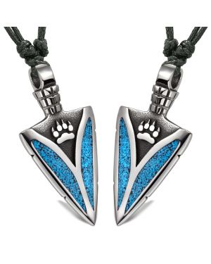 Arrowhead Wild Wolf Paw Love Couples or Best Friends Amulets Set Simulated Turquoise Adjustable Necklaces