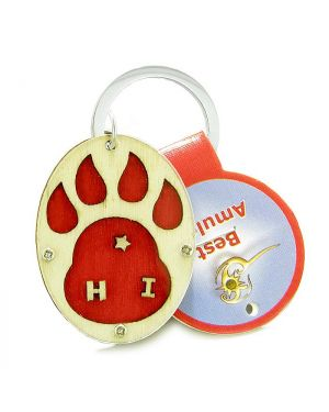 Wolf Paw Courage and Protection Powers Unique and Magic Wooden Keychain Key Ring Blessing