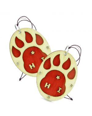 Wolf Paw Courage Protection Powers Love Couples Best Friends Set Wooden Car Charm Amulet Blessings