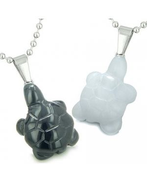 Double Lucky Turtles Love Couples or Best Friends Amulets Magic Energy Black Onyx Jade Necklaces