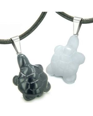 Double Lucky Turtles Love Couples or Best Friends Amulets Positive Energy Onyx White Jade Necklaces