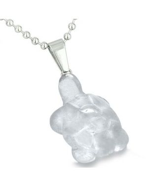 Good Luck Charm Turtle Amulet Crystal Rock Quartz Gemstone Protection Healing Pendant Necklace