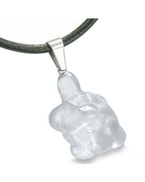 Good Luck Charm Turtle Amulet Crystal Rock Quartz Gemstone Protection Healing Pendant Cord Necklace