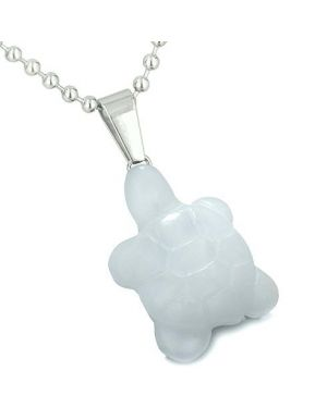 Good Luck Charm Turtle Amulet White Jade Gemstone Protection Healing Powers Pendant Necklace