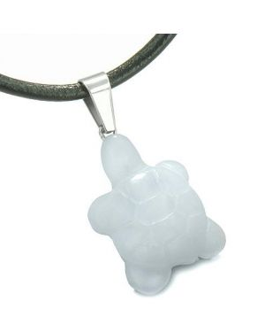 Good Luck Charm Turtle Amulet White Jade Gemstone Protection Healing Powers Pendant Cord Necklace