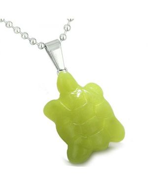 Good Luck Charm Turtle Amulet Olive Green Jade Gemstone Protection Healing Powers Pendant Necklace
