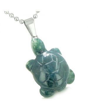 Good Luck Charm Turtle Amulet Indian Green Agate Gemstone Positive Healing Powers Pendant Necklace