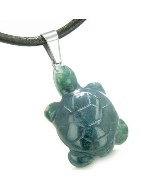 Good Luck Charm Turtle Amulet Indian Green Agate Gemstone Positive Healing Pendant Cord Necklace