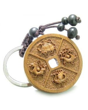 Amulet Sandal Wood Magic Lucky Coin Feng Shui Turtle Dragon Bird Puma Protection Keychain Charm