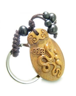 Amulet Sandal Wood Magic Snake Cobra Lucky Coins Feng Shui ProtectiSuper Powers Keychain Charm