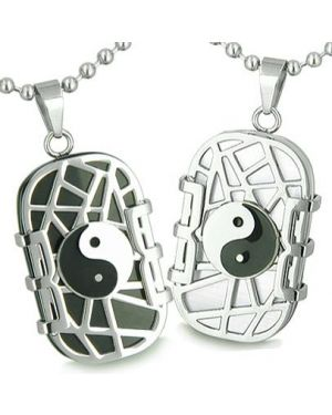 Amulets Love Couples Cosmic Balance Yin Yang Dog Tags Onyx Cats Eye Positive Pendants Necklaces