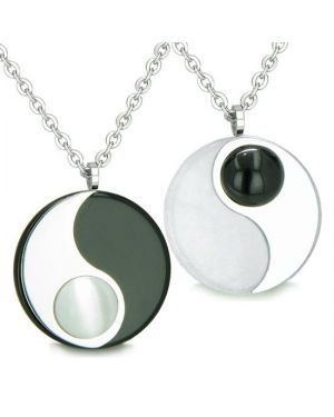 Amulets Love Couples Yin Yang Medallions Double Lucky Onyx Jade Cats Eye Positive Energy Necklaces