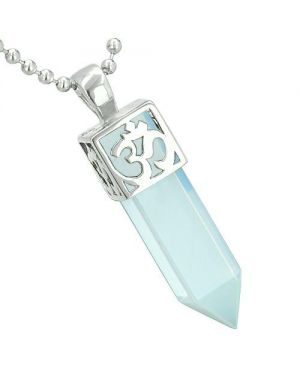 Positive Energy Ancient OM Amulet Magic Powers Crystal Point Lucky Charm Opalite Pendant Necklace