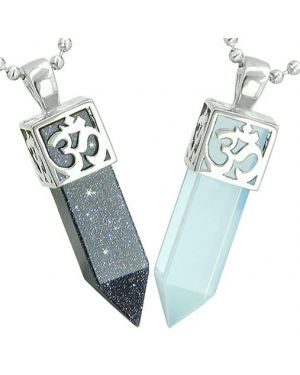 Positive Energy OM Yin Yang Powers Love Couple Amulet Crystal Points Goldstone Opalite Necklaces