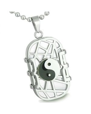 Amulet Cosmic Balance Energy Yin Yang Dog Tag White Cats Eye Good Luck Charm Magic Pendant Necklace