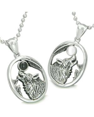 Amulets Howling Wolf Love Couples or Best Friends Onyx Cats Eye Yin Yang Powers Pendants Necklaces