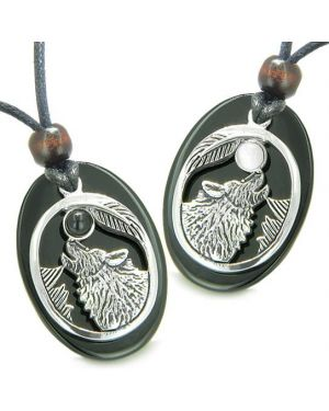 Amulets Howling Wolf Love Couples Best Friends Set Cats Eye Onyx Yin Yang Powers Pendants Necklaces
