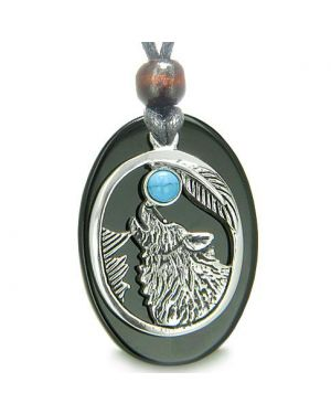 Amulet Courage Howling Wolf Moon Lucky Charm Black Onyx Turquoise Gemstones Pendant Necklace