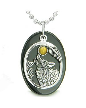 Amulet Courage Howling Wolf Moon Lucky Charm in Black Onyx Tiger Eye Pendant Necklace