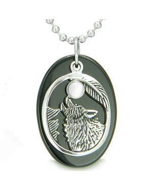 Amulet Courage Howling Wolf Moon Lucky Charm Onyx White Cats Eye Gemstones Pendant Necklace