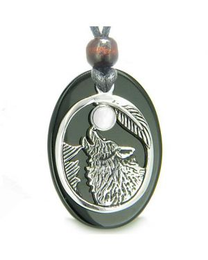 Amulet Courage Howling Wolf Moon Charm Black Onyx White Cats Eye Gemstones Pendant Necklace