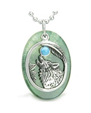 Amulet Courage Howling Wolf Moon Lucky Charm in Green Onyx Turquoise Pendant Necklace
