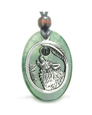 Amulet Courage Howling Wolf Moon Lucky Charm Green Onyx Black Onyx Pendant Necklace