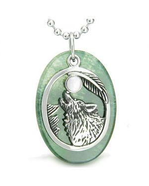 Amulet Courage Howling Wolf Moon Charm in Green Onyx White Cats Eye Pendant Necklace