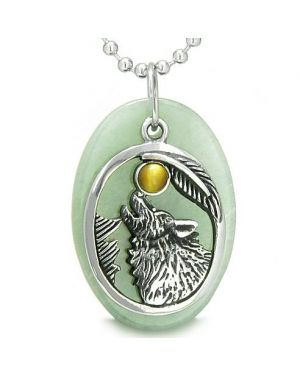 Amulet Courage Howling Wolf Moon Lucky Charm in Green Aventurine Tiger Eye Pendant Necklace