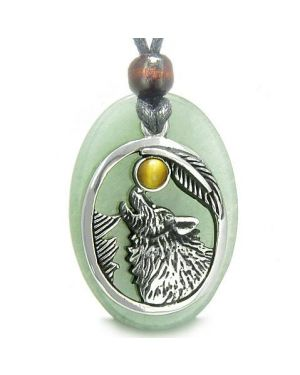 Amulet Courage Howling Wolf Moon Lucky Charm Green Aventurine Tiger Eye Pendant Necklace