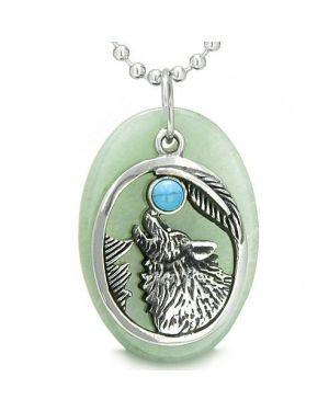 Amulet Courage Howling Wolf Moon Lucky Charm in Green Aventurine Turquoise Pendant Necklace