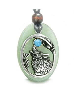 Amulet Courage Howling Wolf Moon Lucky Charm Green Aventurine Turquoise Pendant Necklace