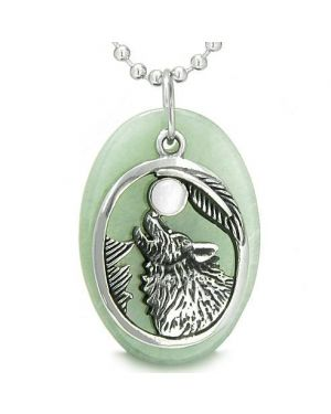 Amulet Courage Howling Wolf Moon Charm in Green Aventurine White Cats Eye Pendant Necklace