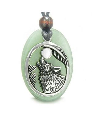 Amulet Courage Howling Wolf Moon Charm Green Aventurine White Cats Eye Pendant Necklace
