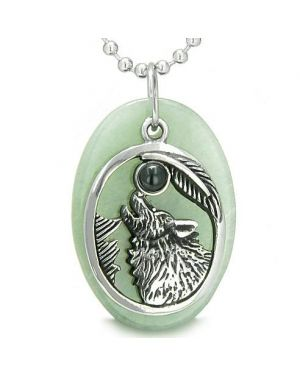 Amulet Courage Howling Wolf Moon Lucky Charm in Green Aventurine Black Onyx Pendant Necklace