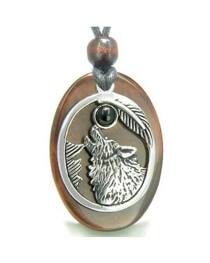 Amulet Courage Howling Wolf Moon Charm in Red Tiger Eye Black Onyx Gemstone Pendant Necklace