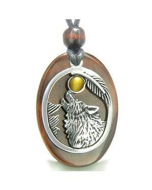Amulet Courage Howling Wolf Moon Charm Red Tiger Eye Tiger Eye Gemstones Pendant Necklace
