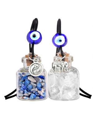 Lucky Elephant Yin Yang Couples Small Car Charms Home Decor Bottles Quartz Lapis Lazuli Amulets