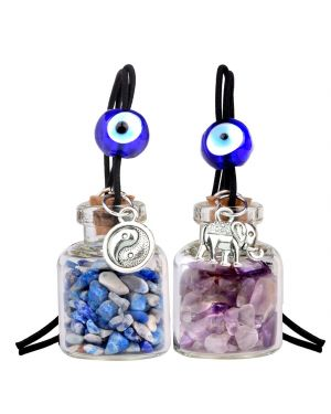 Lucky Elephant Yin Yang Love Couples Small Car Charms Home Decor Gem Bottles Lapis Amethyst Amulets