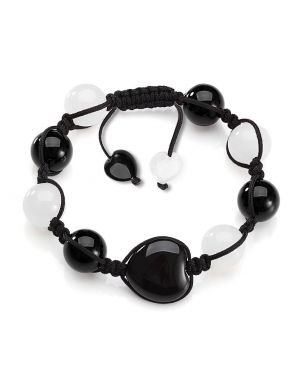 Magic Hearts Yin Yang Powers Amulet Black Agate White Quartz Positive Energy Lucky Charm Bracelet