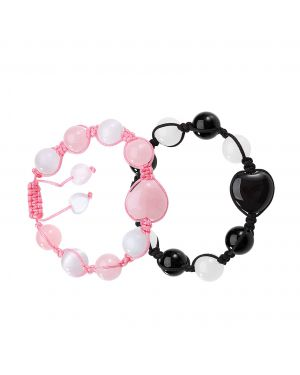Yin Yang Hearts Love Couples Best Friends Agate Rose Quartz White Simulated Cats Eye Bracelets