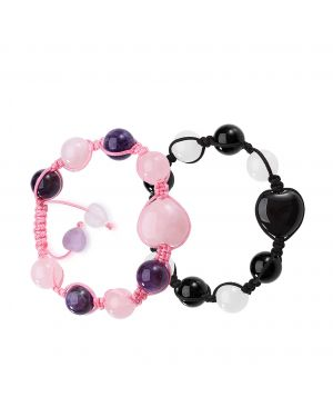Yin Yang Hearts Energy Love Couples or Best Friends Magic Agate White Rose Purple Quartz Bracelets
