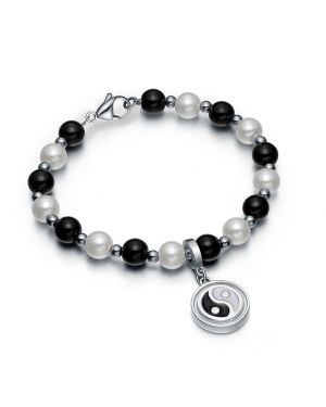 Amulet Positive Powers Simulated Pearl Black White Yin Yang Magic Circle Energy Elegant Bracelet