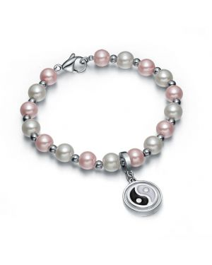 Amulet Positive Powers Simulated Pearl Pink White Yin Yang Magic Circle Energy Elegant Bracelet