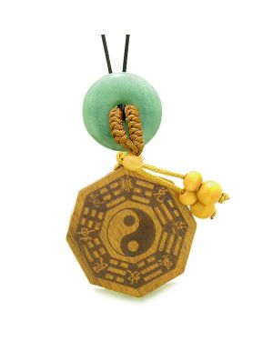 Yin Yang BaGua Trigrams Car Charm or Home Decor Green Quartz Lucky Donut Protection Powers Amulet