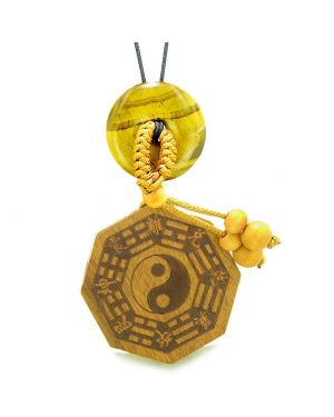 Yin Yang BaGua Trigrams Car Charm or Home Decor Tiger Eye Lucky Donut Protection Powers Amulet