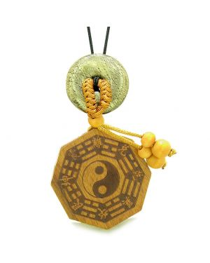 Yin Yang BaGua Trigrams Car Charm or Home Decor Golden Pyrite Iron Lucky Donut Protection Powers Amulet