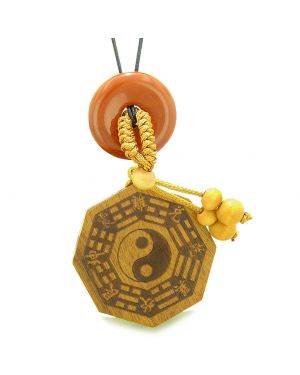 Yin Yang BaGua Trigrams Car Charm or Home Decor Red Jasper Lucky Donut Protection Powers Amulet