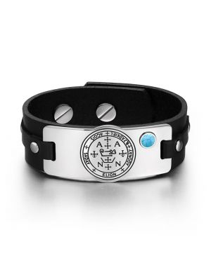 Archangel Zadkiel Sigil Magic Powers Amulet Simulated Turquoise Adjustable Black Leather Bracelet